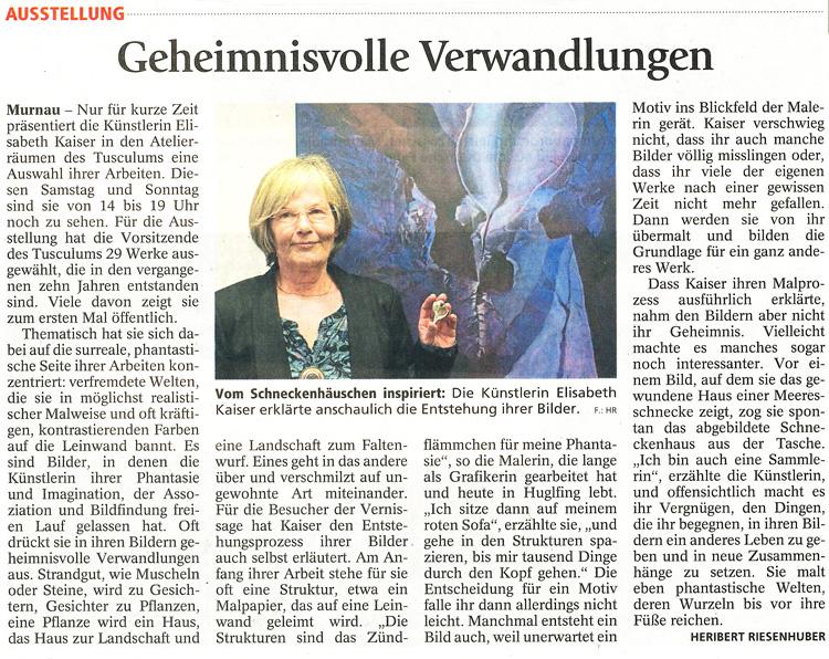 Murnauer Tagblatt zur Ausstellung von Elisabeth Kaiser