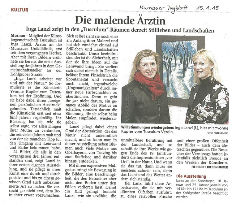 Murnauer Tagblatt zur Ausstellung von Inga Lanzl