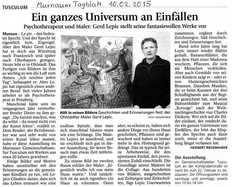 Murnauer Tagblatt zur Ausstellung von Gerd Lepic