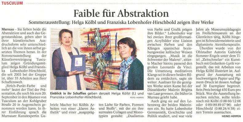 Murnauer Tagblatt zur Ausstellung von Franziska Lobenhofer-Hirschbold und Helga Kölbl