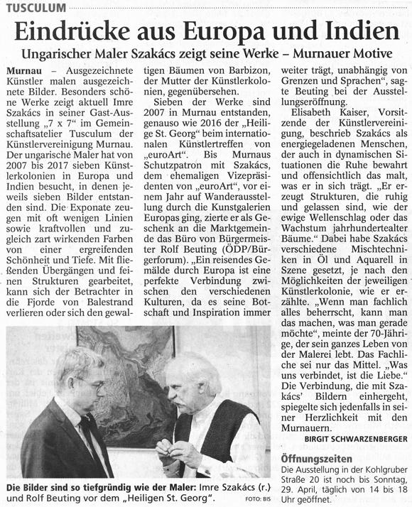 Presseartikel zur Ausstellung von Imre Szakacs