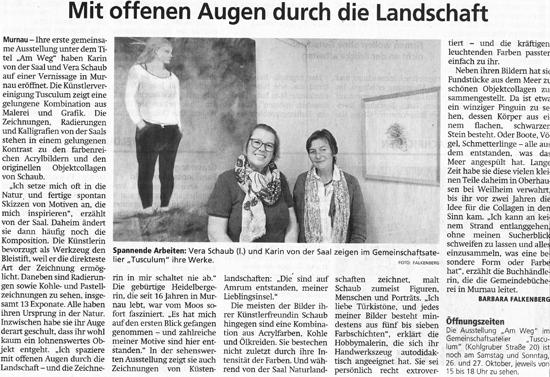 Murnauer Tagblatt zur Ausstellung von Vera Schaub und Karin von der Saal