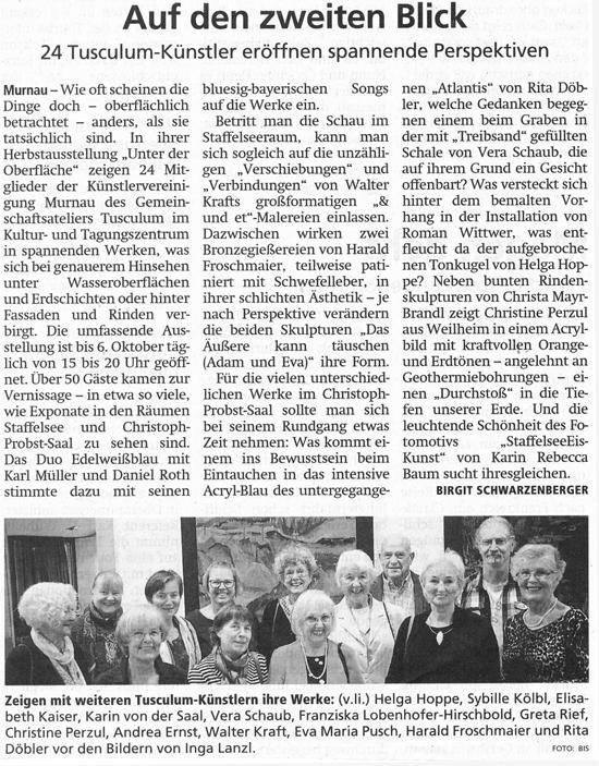 Murnauer Tagblatt zur Herbstausstellung des Tusculum