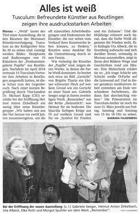 Murnauer Tagblatt zur Reutlinger Ausstellung im Tusculum