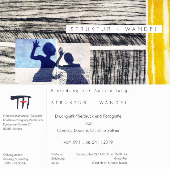 Plakat zur Ausstellung von Cornelia Dudel und Christine Zellner im Tusculum Murnau