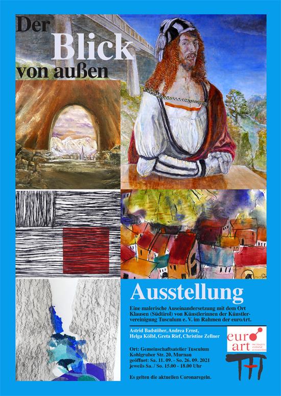 Plakat zur Ausstellung von Greta Rief, Astrid Badstöber, Helga Kölbl, Andrea Ernst und Christine Zellner