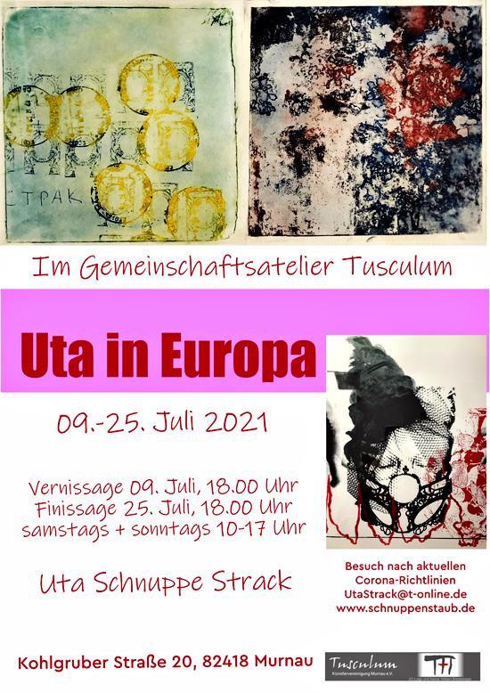 Plakat zur Ausstellung Uta in Europa des Tusculum Murnau