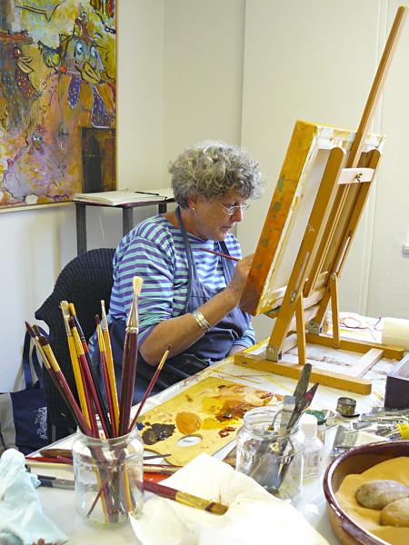 während des Kurses zur Ölmalerei